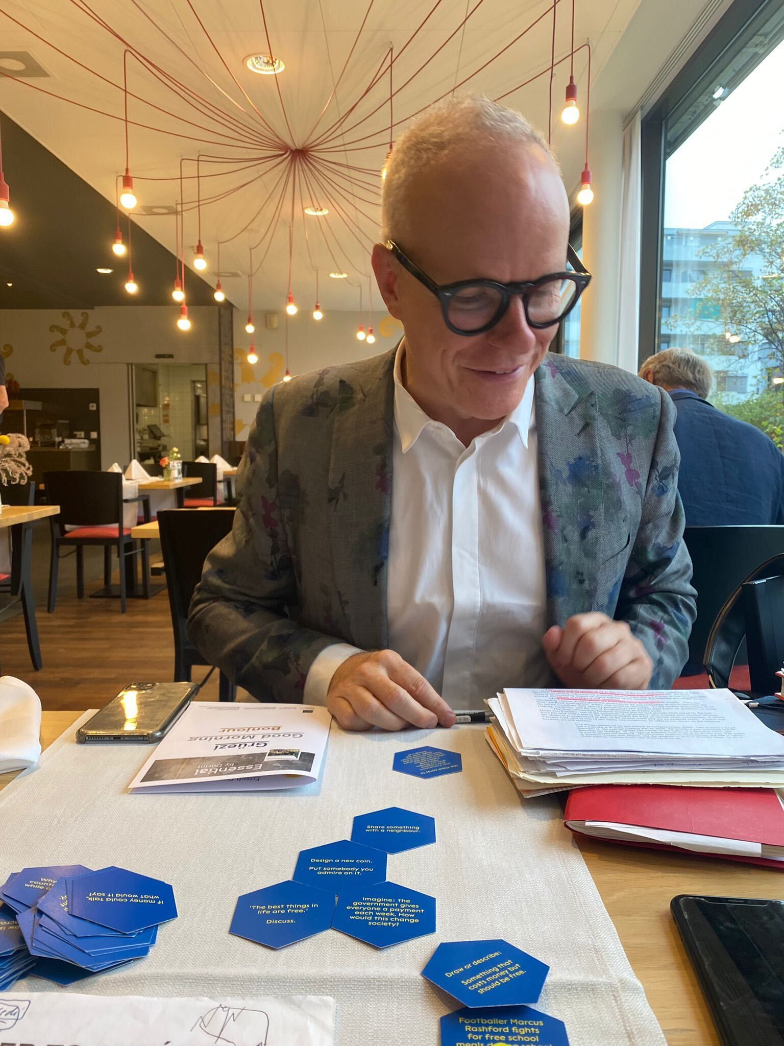 Curator Hans Ulrich describing a